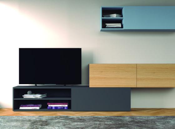 Muebles salón madera y gris