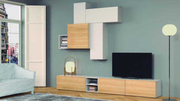 Muebles de salón madera clara