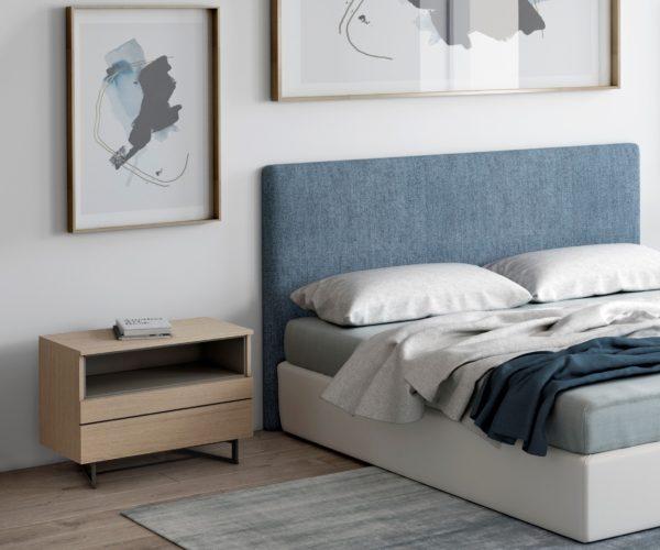 Estructura de cama con cabecero tapizado