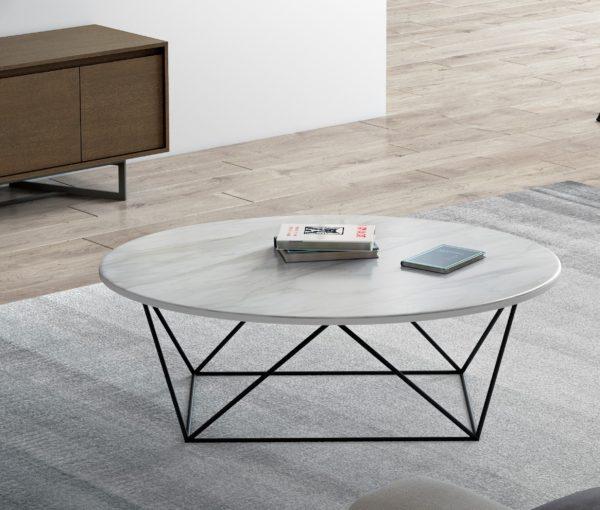 Mesa de centro con tapa porcelánica
