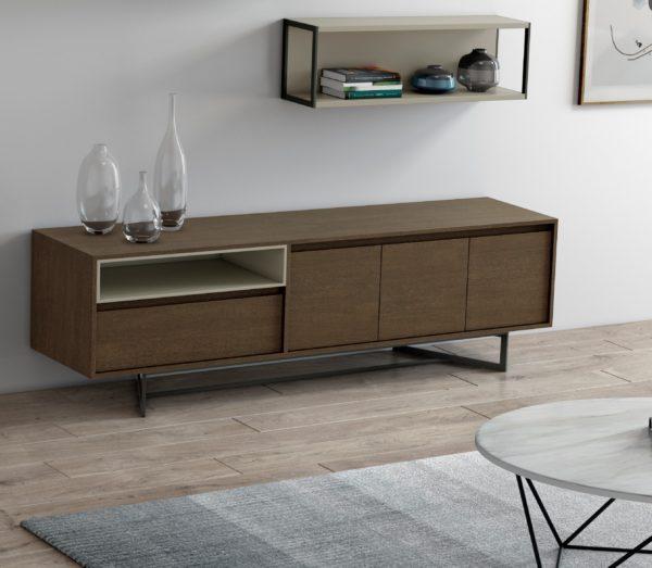 Mueble de televisión moderno de nogal